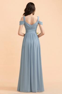 Brautjungfernkleider Stahlblau Lang Günstig | Schlichtes Abendkleid Chiffon_3