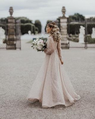 Schöne Brautkleid Glitzer mit Ärmel | Schlichte Hochzeitskleider V Ausschnitt_4