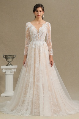 Designer wedding dress A line lace | Wedding dresses with sleeves_1