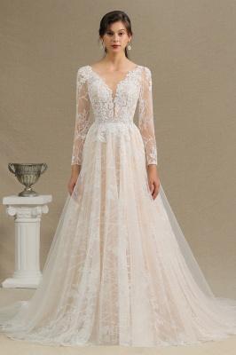 Designer Brautkleid A Linie Spitze | Hochzeitskleider mit Ärmel_1