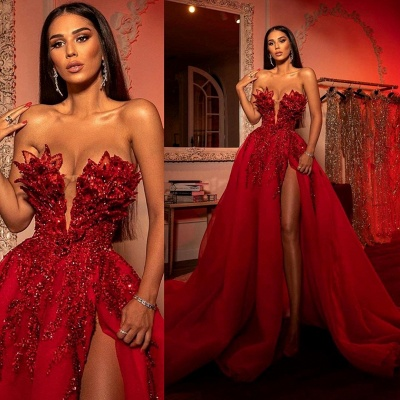 Extravagant evening dresses long red | Prom dresses with glitter_4