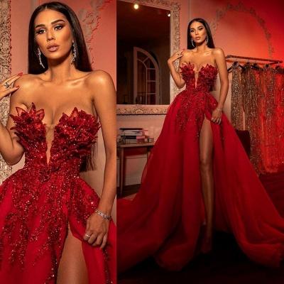 Extravagante Abendkleider Lang Rot | Abiballkleider mit Glitzer_4