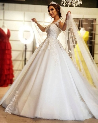 Designer wedding dress with sleeves | Lace wedding dresses A line_2