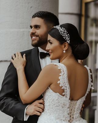 Moderne Brautkleider mit Spitze | A Linie Hochzeitskleid Lange Schleppe_5