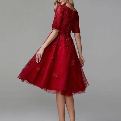 Evening dresses short red | Lace cocktail dresses with sleeves_3
