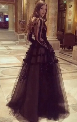 Elegant evening dresses long glitter | Black prom dresses with sleeves_1
