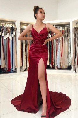 Simple evening dress wine red | Evening Wear Prom Dresses Online_1