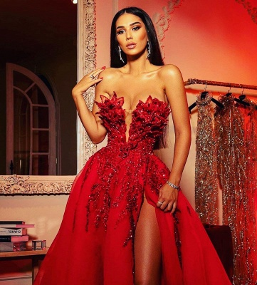 Extravagant evening dresses long red | Prom dresses with glitter_2