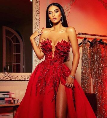 Extravagante Abendkleider Lang Rot | Abiballkleider mit Glitzer_2