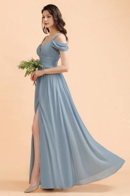 Brautjungfernkleider Stahlblau Lang Günstig | Schlichtes Abendkleid Chiffon_7
