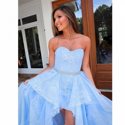 Light blue evening dress with lace | Cocktail dresses short front long back_4