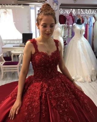 Prinzessin Abendkleider Weinrot | Abiballkleider mit Spitze_4