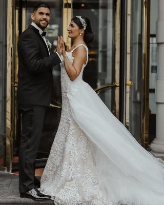 Moderne Brautkleider mit Spitze | A Linie Hochzeitskleid Lange Schleppe_4