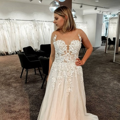 Gorgeous wedding dresses with lace | Wedding Dress A Line Online_5