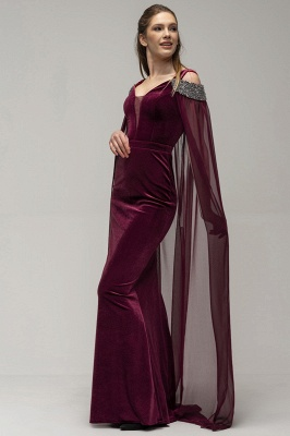 Wine red evening dresses Velvet | Evening dresses long cheap online_2