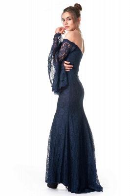 Navy Blaue Abendkleider mit Ärmel | Spitze Abiballkleider Lang Günstig_3