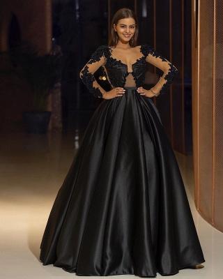 Elegante Abendkleider Lang Schwarz | Abendmoden mit Ärmel_2