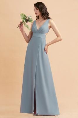 Brautjungfernkleider Lang Blau | Chiffon Kleider Für Brautjungfern Günstig_1