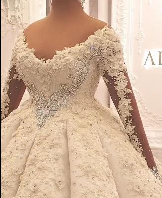 Luxury wedding dresses with sleeves | Princess wedding dress lace_3