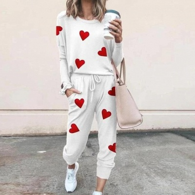 Schlafanzug Damen Weiß | Winter Pyjama Damen