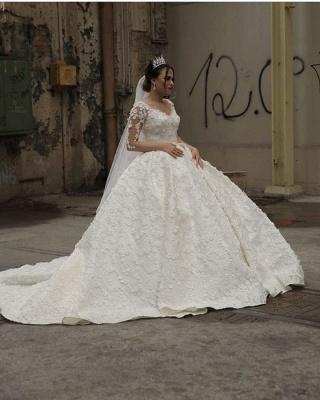 Prinzessin Hochzeitskleider mit Spitzeärmel   Brautmoden Online Kaufen_2