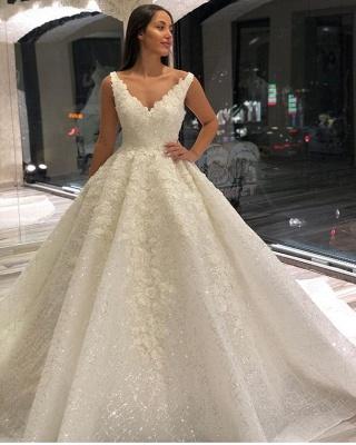 Wedding dresses A line V neckline | Wedding dresses with lace_2