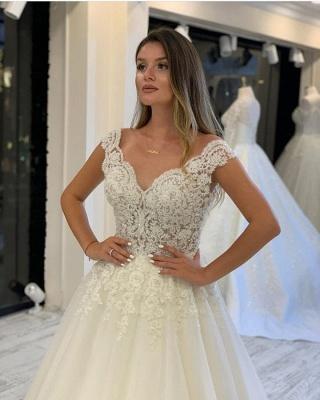 Designer Hochzeitskleider V Ausschnitt | A Linie Brautkleid Mit Spitze_3