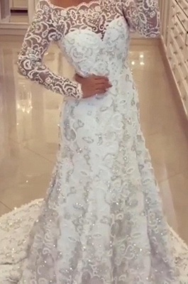 Modern a line wedding dresses in white bridal gown with lace_1