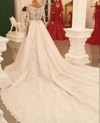 Designer Wedding Dresses A Line | Lace wedding dresses with sleeves_5