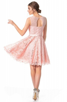 Pink Lace Cocktail Dresses | Short prom dresses online_4