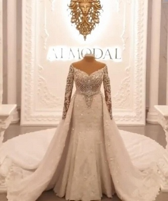 Designer Wedding Dresses A Line | Lace wedding dresses with sleeves_2