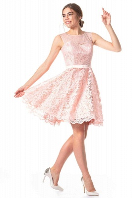 Pink Lace Cocktail Dresses | Short prom dresses online_3
