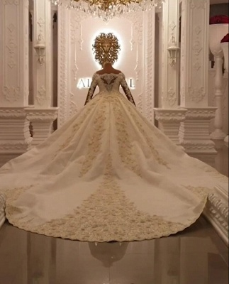 Luxury wedding dresses with sleeves | Princess wedding dress lace_5