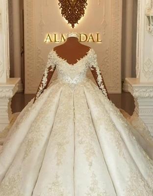 Luxury wedding dresses with sleeves | Princess wedding dress lace_4
