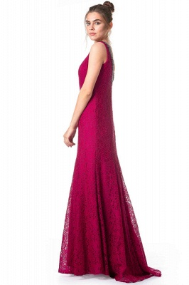 Simple evening dresses long lace | Fuchsia evening dress online_3