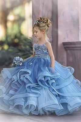 Blaue Blumenmädchenkleider Prinzessin | Kleider Kinder Hochzeit_4