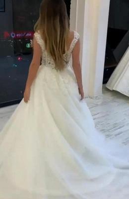 Designer Hochzeitskleider V Ausschnitt | A Linie Brautkleid Mit Spitze_2