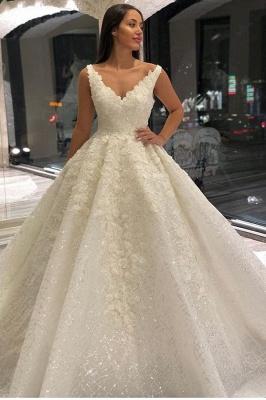 Brautkleider A linie V Ausschnitt | Hochzeitskleider mit Spitze