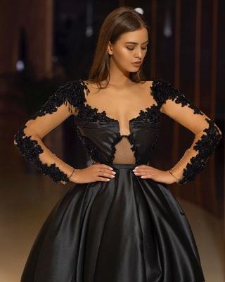 Elegante Abendkleider Lang Schwarz | Abendmoden mit Ärmel_3