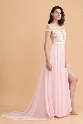 Elegante Brautjungfernkleider Lang Rosa | Günstige Hochzeitsgäste Kleider_6