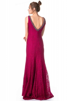 Simple evening dresses long lace | Fuchsia evening dress online_2