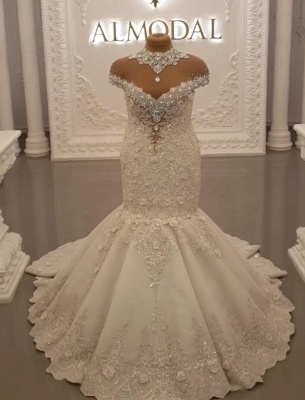 Designer wedding dresses with sleeves | Lace bridal mermaid_1