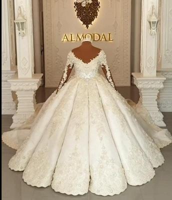 Luxury wedding dresses with sleeves | Princess wedding dress lace_1