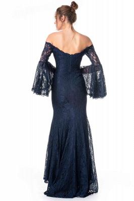 Navy Blaue Abendkleider mit Ärmel | Spitze Abiballkleider Lang Günstig_2