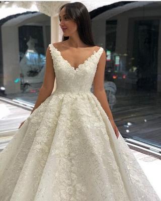 Wedding dresses A line V neckline | Wedding dresses with lace_3
