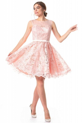 Pink Lace Cocktail Dresses | Short prom dresses online_1