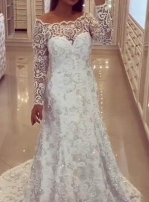 Modern a line wedding dresses in white bridal gown with lace_2