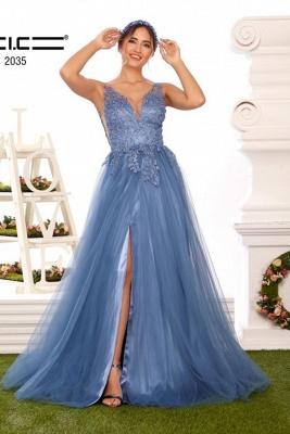 Abendkleider Lang V Ausschnitt | Abiballkleider mit spitze Blau