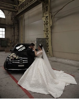 Prinzessin Hochzeitskleider mit Spitzeärmel   Brautmoden Online Kaufen_3