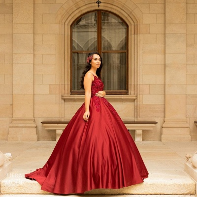 Modern Abendkleider Lang Rot | Abischulssballkleider Prinzessin_2